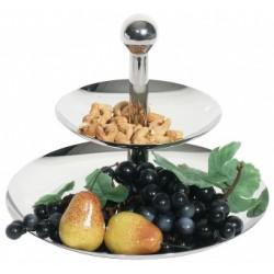 Fructiera/ bomboniera, inox, 2 nivele, h 22 cm