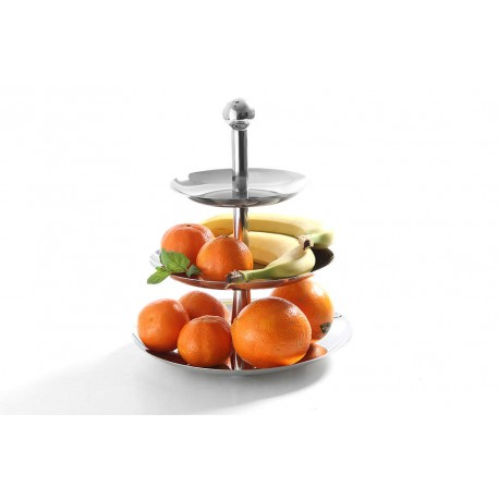 Fructiera/ bomboniera, inox, 3 nivele, h 32 cm