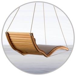 Sezlong suspendat, ergonomic, lemn, 200 x 70 cm