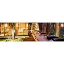 Sezlong suspendat, ergonomic, lemn, 200 x 140 cm