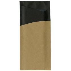 Sachete/ Port tacamuri Brown & Black, cu servetel negru, 8,5 X 19 cm