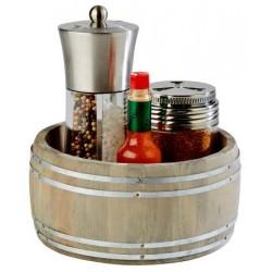 "Suport condimente ""COUNTRY STYLE"", lemn, diam 17.5 cm"