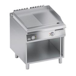 Grill/gratar dublu electric cu suport deschis si suprafata de lucru neteda si striata seria 900