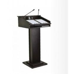 Pupitru conferinta din lemn, cu microfoane si suport sticla, 60x50x132 cm