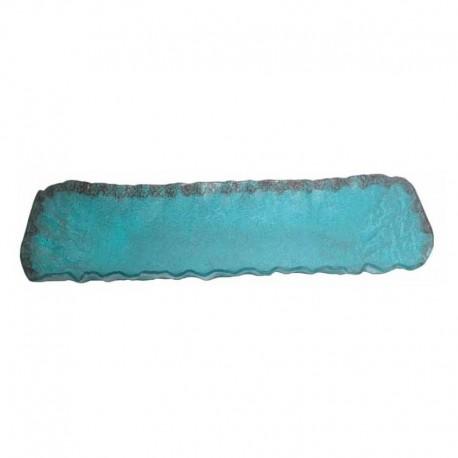 Platou bufet, sticla de Murano, Turquesa, lungime 1.23 m
