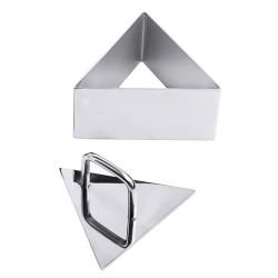 Forma triunghiulara mousse cu capac, inox, 10 cm