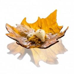 Farfurie sticla, frunza maro, 17.5 cm