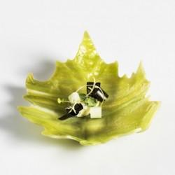 Farfurie sticla, frunza verde, 17.5 cm