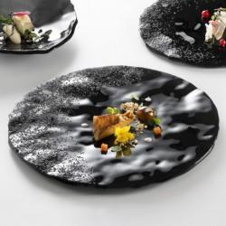 Farfurie neagra, sticla, Onyx, 30 cm