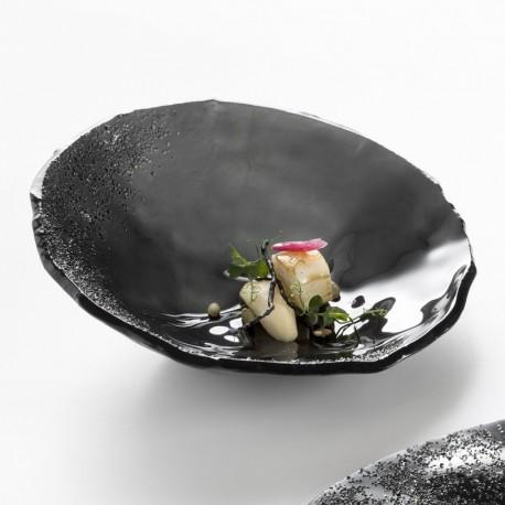 Bol negru, sticla, Onyx, 24 cm