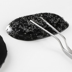 Farfurie neagra, sticla, Onyx, 13 cm