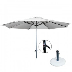 Umbrela alba diametru 3 metri cu piedestal inox